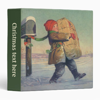 """Navidad del vintage, niño con el paquete grande carpeta 1 1/2"""""""