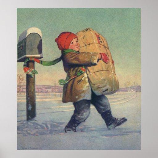 Navidad del vintage, niño con el paquete grande póster