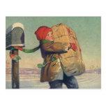 Navidad del vintage, niño con el paquete postal