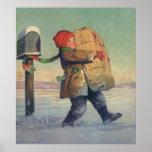 Navidad del vintage, niño con el paquete poster
