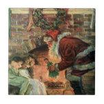 Navidad del vintage, niños de Papá Noel del Azulejo Cuadrado Pequeño