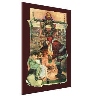Navidad del vintage, niños de Papá Noel del Impresión En Lienzo