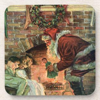 Navidad del vintage, niños de Papá Noel del Posavasos