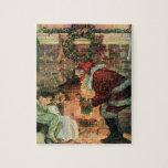Navidad del vintage, niños de Papá Noel del Puzzle