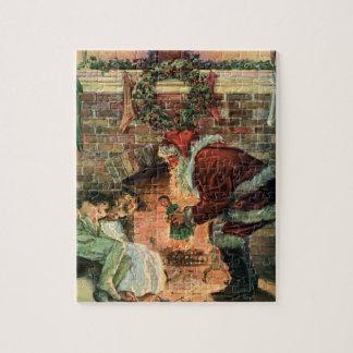 Navidad del vintage, niños de Papá Noel del Puzzles Con Fotos