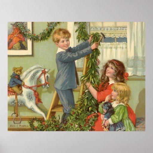 Navidad del vintage, niños del Victorian que adorn Impresiones