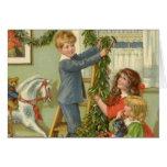Navidad del vintage, niños del Victorian que Tarjeta De Felicitación