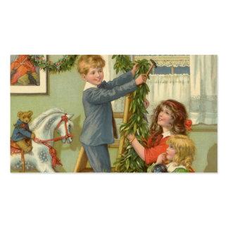 Navidad del vintage, niños del Victorian que Tarjetas De Visita
