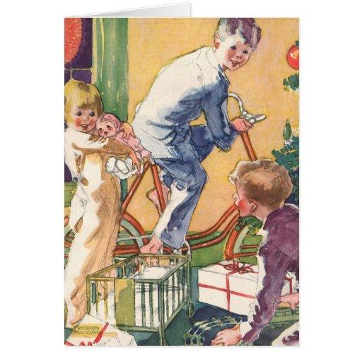 Navidad del vintage, niños del vintage con los tarjeta de felicitación