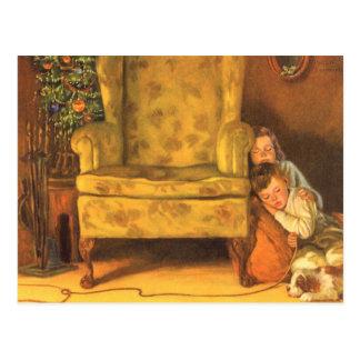 Navidad del vintage, niños que esperan Santa Postales