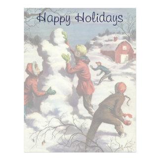 Navidad del vintage, niños que juegan en la nieve plantillas de membrete