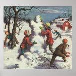 Navidad del vintage, niños que juegan en la nieve posters