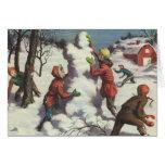 Navidad del vintage, niños que juegan en la nieve tarjetón