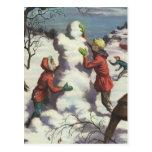 Navidad del vintage, niños que juegan en la nieve tarjetas postales
