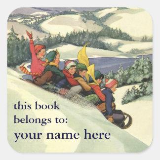 Navidad del vintage niños Sledding Bookplate