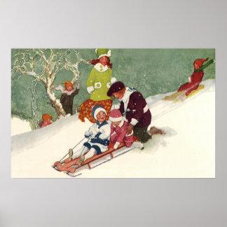 Navidad del vintage niños Sledding en la nieve