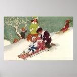 Navidad del vintage, niños Sledding en la nieve Impresiones