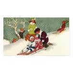Navidad del vintage, niños Sledding en la nieve Tarjeta De Visita