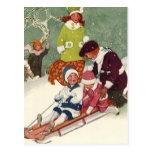 Navidad del vintage, niños Sledding en la nieve Postal