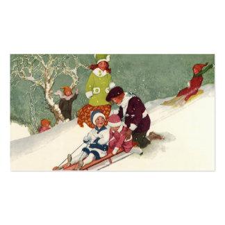 Navidad del vintage, niños Sledding en la nieve Tarjetas De Visita