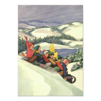 Navidad del vintage, niños Sledding en una montaña Invitación 12,7 X 17,8 Cm