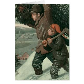Navidad del vintage padre aTree de corte del hij