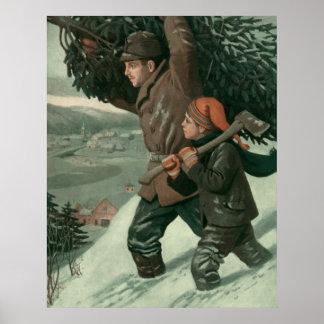 Navidad del vintage padre aTree de corte del hij Poster