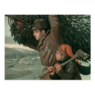 Navidad del vintage padre aTree de corte del hij Postal