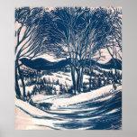 Navidad del vintage, paisaje de la montaña de los poster