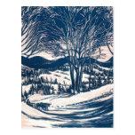 Navidad del vintage, paisaje de la montaña de los postal