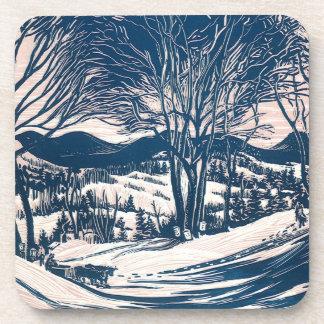 Navidad del vintage, paisaje de la montaña del posavasos de bebidas