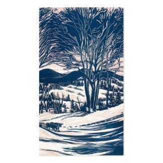 Navidad del vintage, paisaje de la montaña del tarjetas de visita