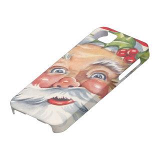 Navidad del vintage Papá Noel alegre con acebo iPhone 5 Case-Mate Carcasas