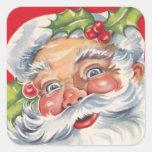 Navidad del vintage, Papá Noel alegre con acebo Pegatina Cuadrada