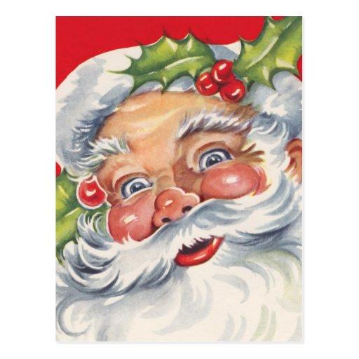 Navidad del vintage, Papá Noel alegre con acebo Postal
