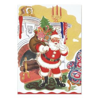 Navidad del vintage, Papá Noel alegre con los Invitación 12,7 X 17,8 Cm