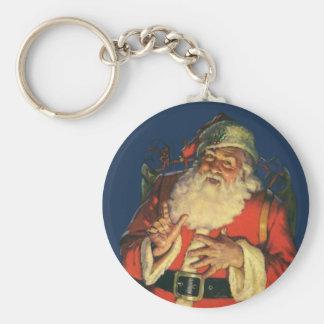 Navidad del vintage, Papá Noel alegre con los Llavero Redondo Tipo Pin