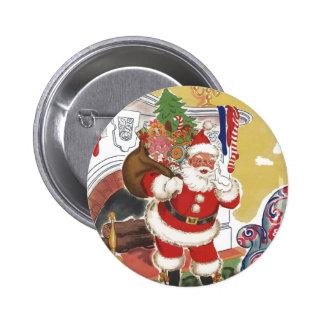 Navidad del vintage, Papá Noel alegre con los Pin Redondo De 2 Pulgadas