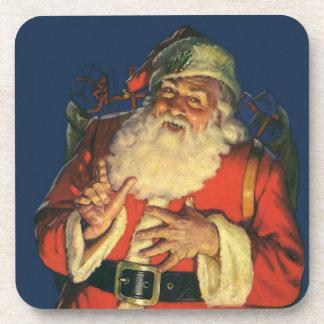 Navidad del vintage, Papá Noel alegre con los Posavasos De Bebidas