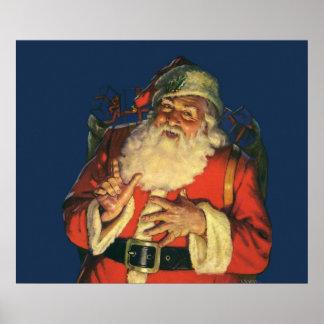Navidad del vintage, Papá Noel alegre con los Póster