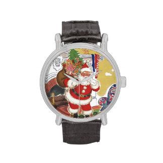 Navidad del vintage, Papá Noel alegre con los Reloj De Mano