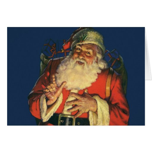 Navidad del vintage, Papá Noel alegre con los Tarjetón