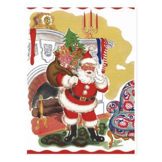 Navidad del vintage, Papá Noel alegre con los Tarjeta Postal