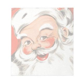 Navidad del vintage, Papá Noel alegre con sonrisa Blocs De Papel