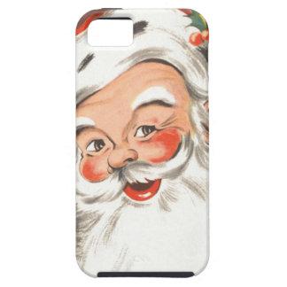 Navidad del vintage, Papá Noel alegre con sonrisa Funda Para iPhone 5 Tough