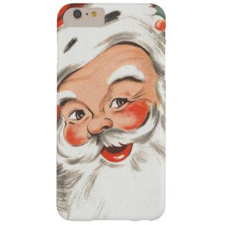 Navidad del vintage, Papá Noel alegre con sonrisa Funda De iPhone 6 Plus Barely There