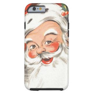 Navidad del vintage, Papá Noel alegre con sonrisa Funda Para iPhone 6 Tough