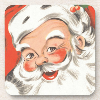 Navidad del vintage, Papá Noel alegre con sonrisa Posavasos De Bebidas