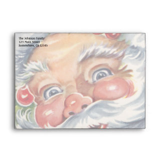 Navidad del vintage, Papá Noel alegre con su gorra Sobre