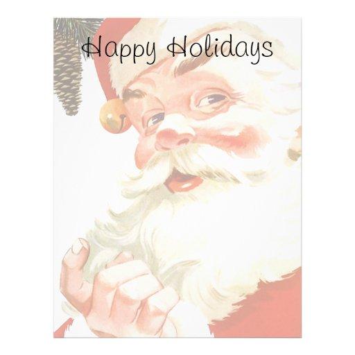 Navidad del vintage, Papá Noel alegre con un Membrete Personalizado